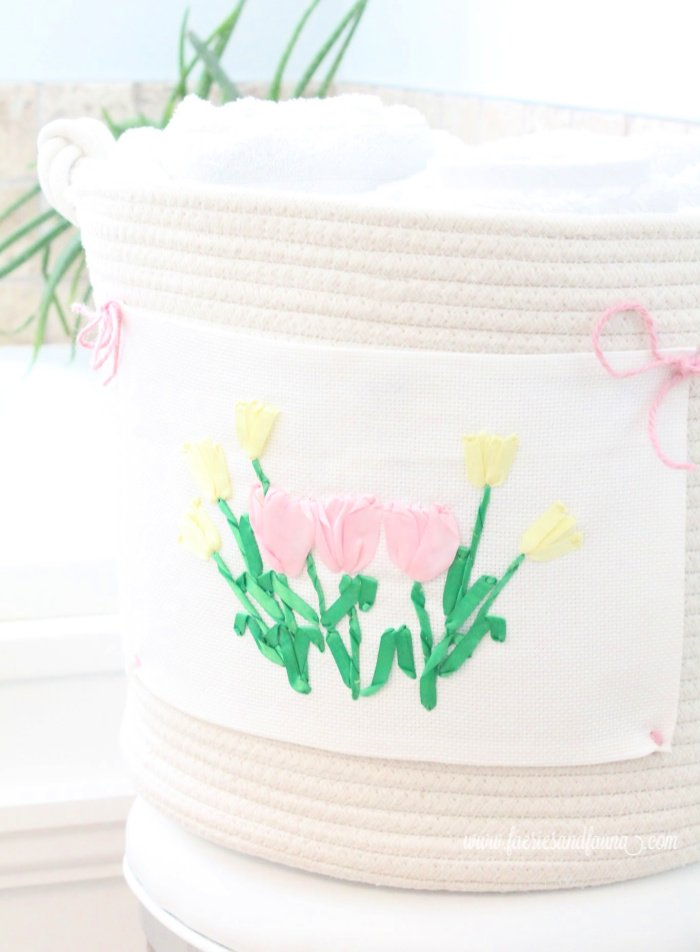 Tulip ribbon embroidery for Spring on a basket.