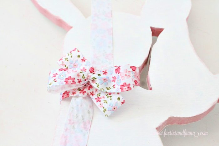 How to make a bow using ribbon onto a wood Easter bunny craft