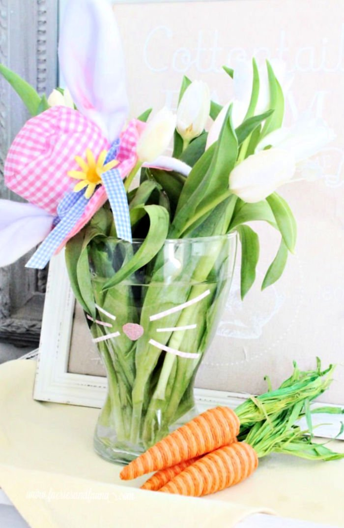 A DIY bunny vase Easter centerpiece for Easter decor or gift giving.