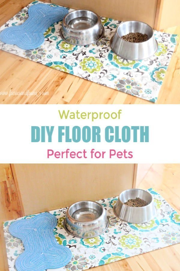 A DIY placemat for pets to protect floors