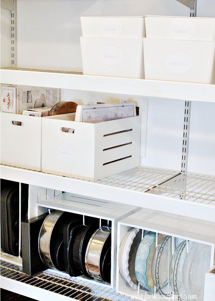 A DIY pantry makeover with updated wire shelving.