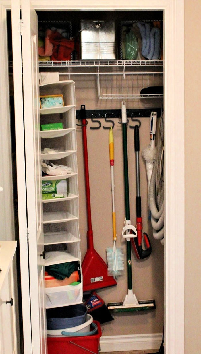 Organizing a broom closet