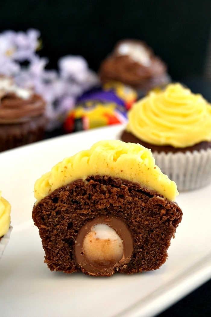 Easter cupcake recipe stuffed with an Cadbury Easter egg center.