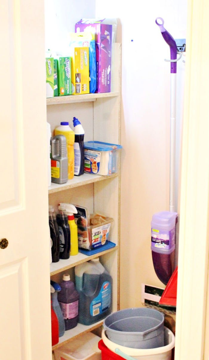 How to organize a cleaning closet to hold all your cleaning supplies.