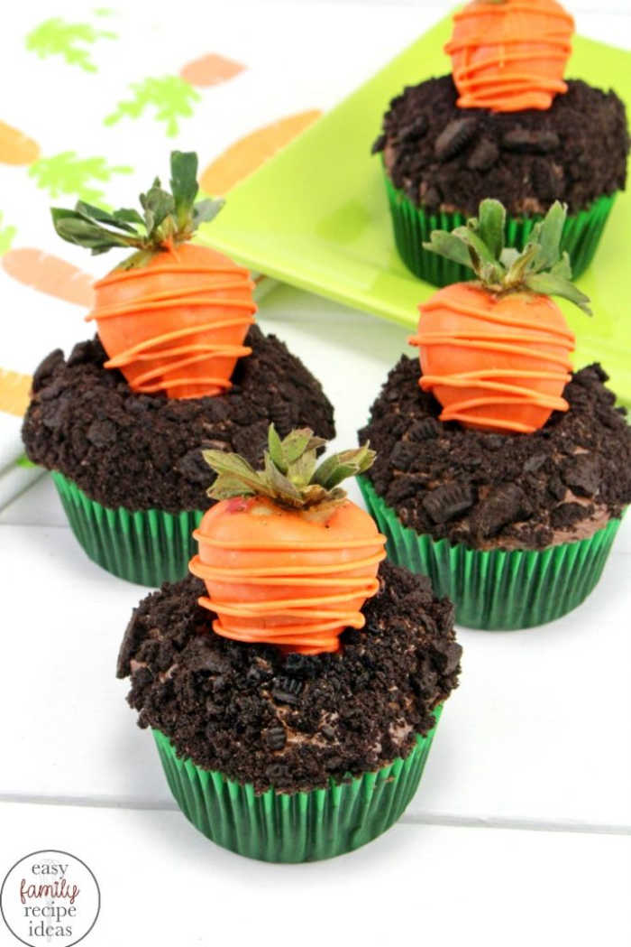 A Spring or Easter cupcake recipe with strawberry carrots , looks like a carrot garden.