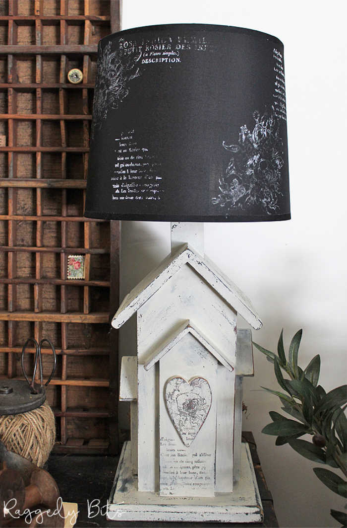 Farmhouse Lamp Makeover project using stamps.