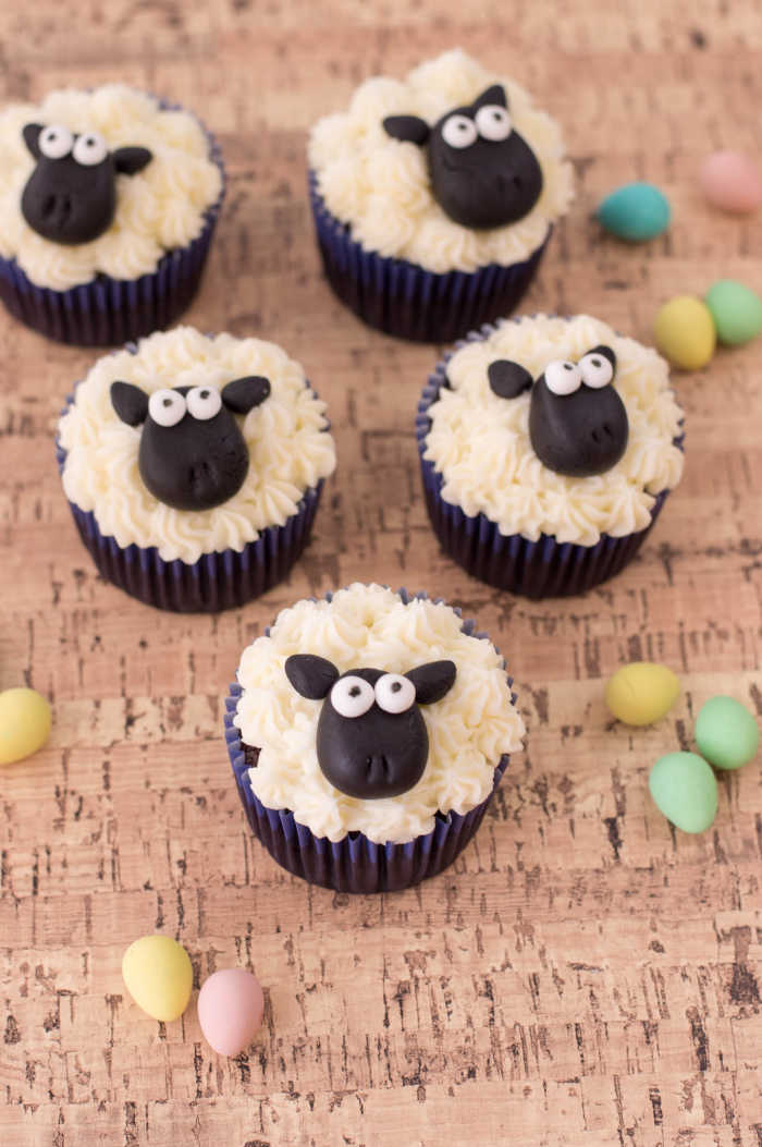 Adorable Easter or Spring cupcakes featuring Sheep