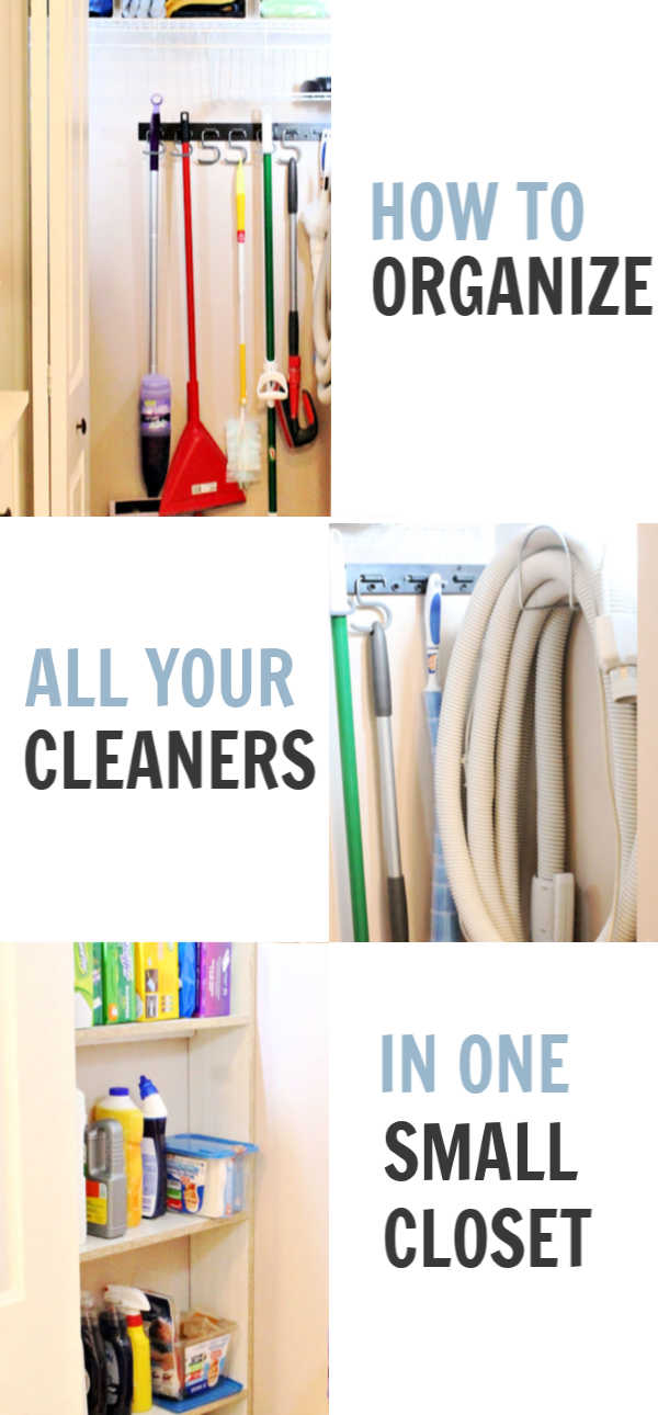 Organizing all your cleaners in one closet.