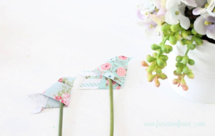 How to attach little folded origami paper birds into a spring flower arrangement
