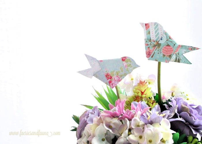 Simple Origami Paper Birds in a Spring Floral Arrangement. An easy origami craft idea.