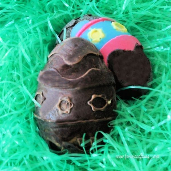 Coloured chocolate Easter eggs with Peanut butter filling.