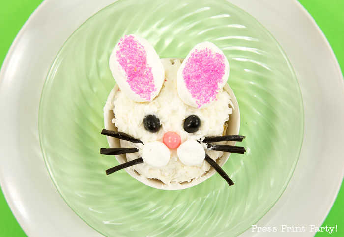 An Easter cupcake recipe featuring an Adorable Easter bunny with Marshmallow ears