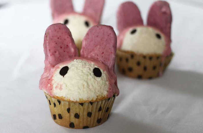 A healthy alternative cupcake recipe that looks like an Easter bunny.
