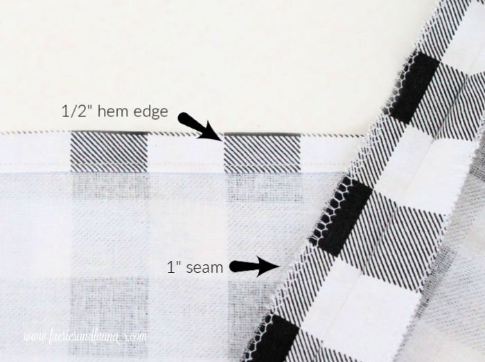 How to sew a cushion banner with buffalo check fabric.