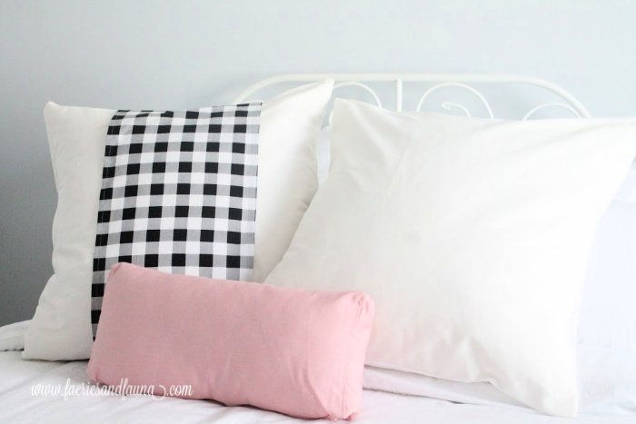 Large DIY cushion covers with and without buffalo check banners