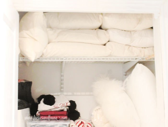 Linen closet before decluttering picture