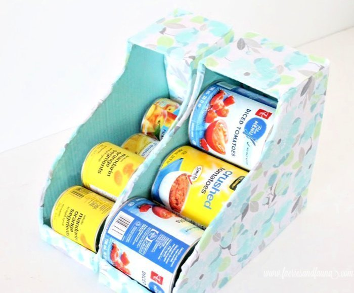 Extra large cans fit into this tin can organizer for the kitchen or pantry.