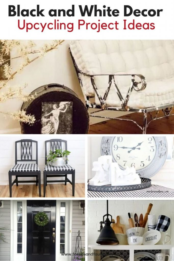 Black and White DIY projects for the home, including furniture, farmhouse decor, and buffalo check.
