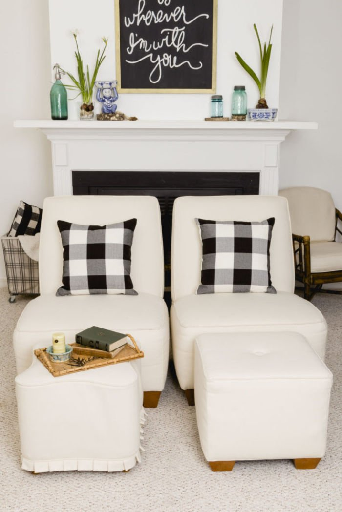 A black and white room done with DIY room decor