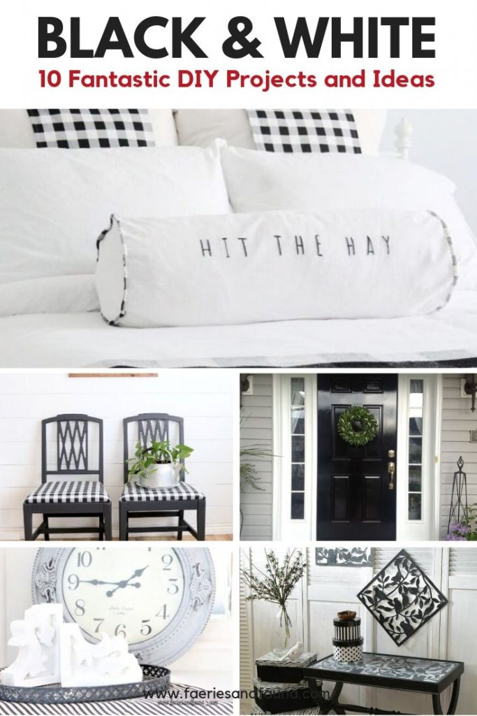 A bedroom decorated in black and white DIY home decor and buffalo check.