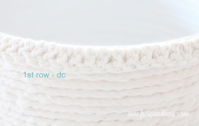 Double crochet stitches along the top of a handmade farmhouse pot cover