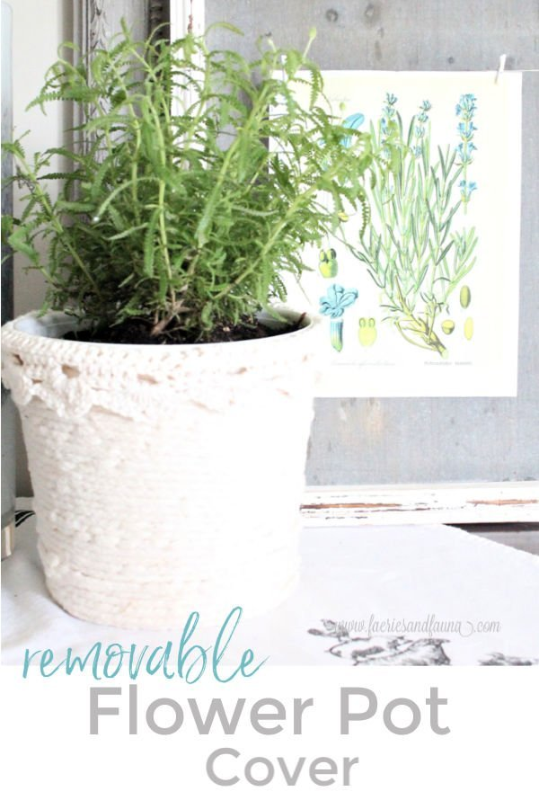 DIY dollar store flower pot makeover with removable cover.