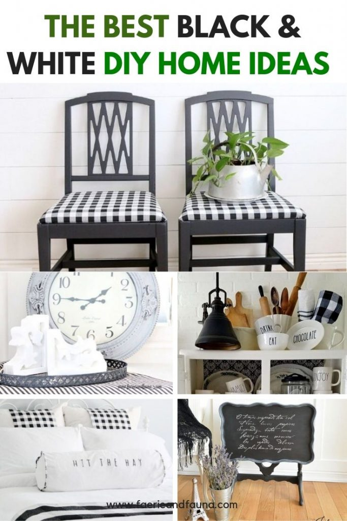 Farmhouse decor ideas in black and white d, using painted, repurposed items and buffalo check.