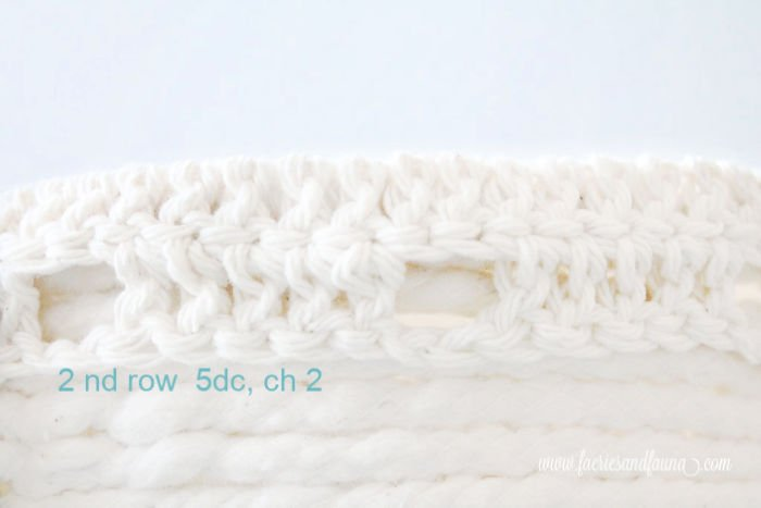 Double crochet stitches on a plant pot makeover.