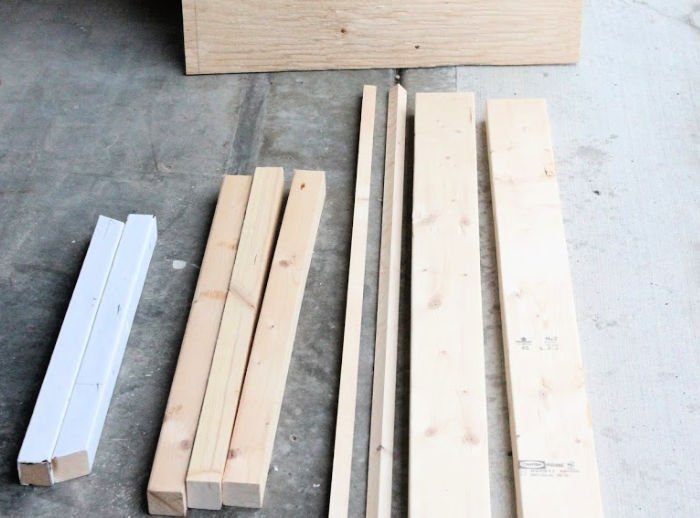 Lumber cut to size for making a DIY Dog Ramp.