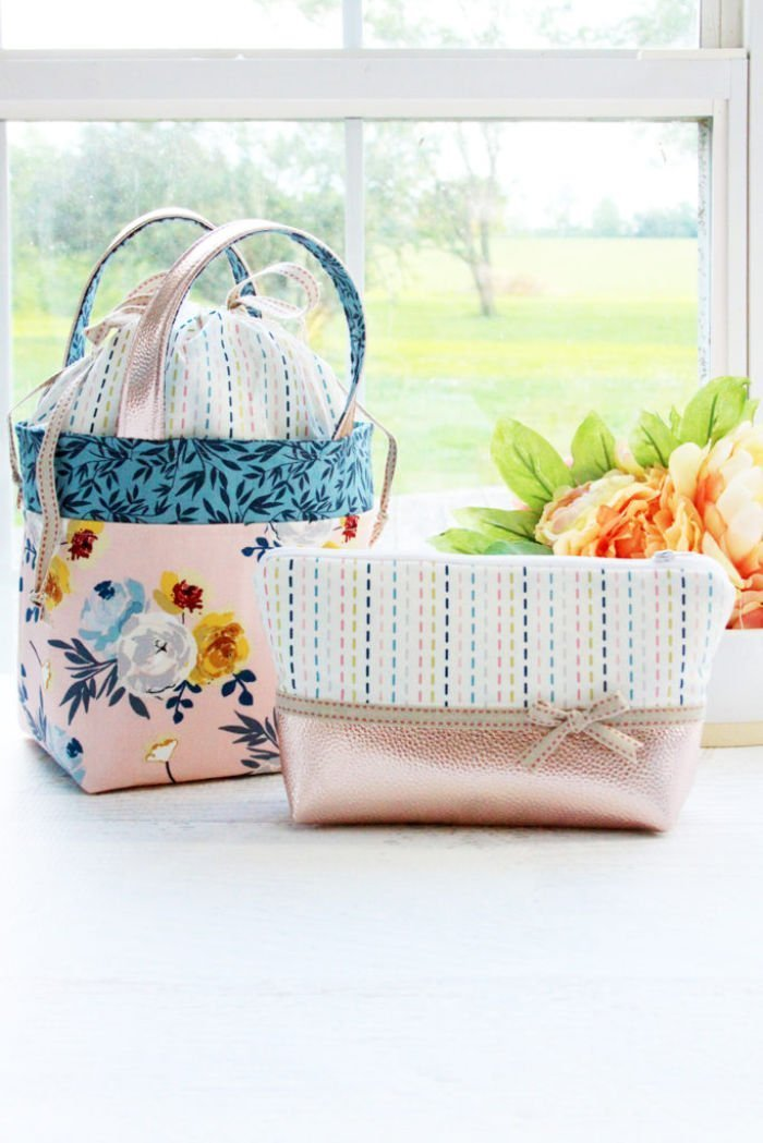 Handmade fabric bags with blossoms.