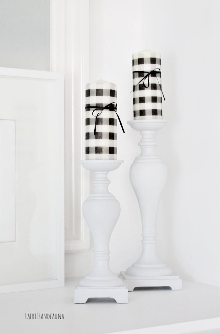 DIY Candlestick Upcycle with Buffalo Check Candles