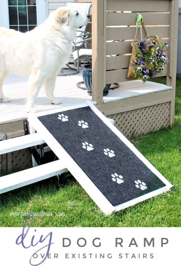 A handmade dog ramp that fits over stairs for outdoors