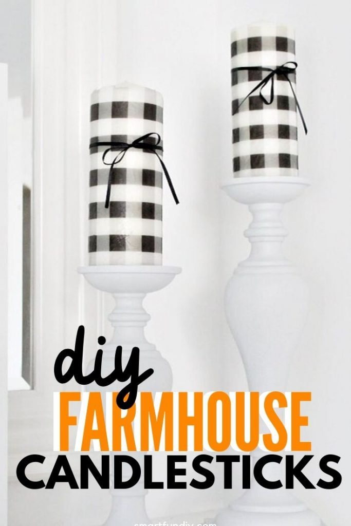 Farmhouse candlesticks made from thrifted candlestick a nd given DIY buffalo check candles for farmhouse deocr.