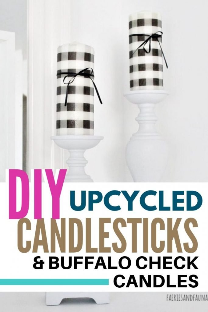 Upcycled candlesticks with very easy to make dollar store craft buffalo check candles