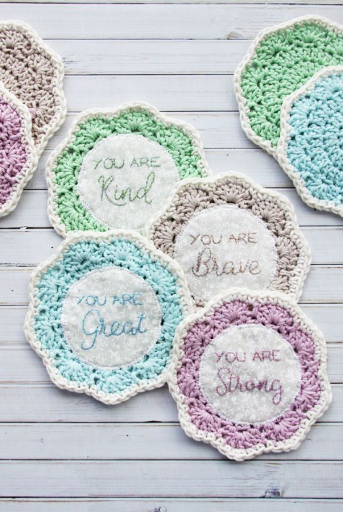 Embroidered and crocheted coasters