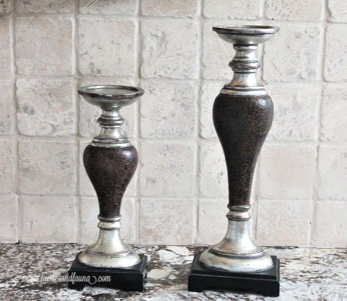 A candlestick makeover before picture.