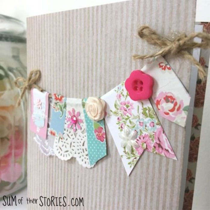 A homemade birthday card featuring pretty floral banner.
