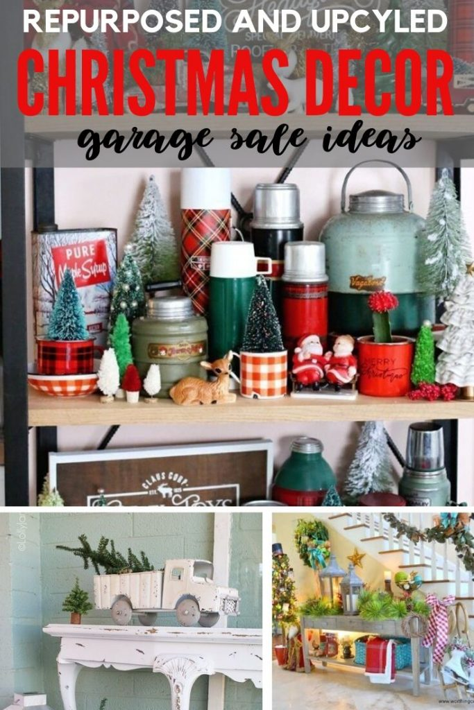 Vintage thermos and vintage dishes and other vintage thirfted items gathered together and repurposed into gorgeous farmhouse Christmas decor.