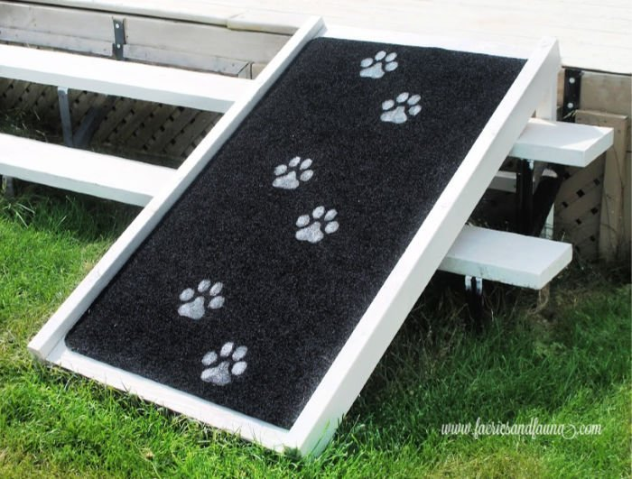 DIY Dog Ramp for Outdoors that fits over stairs.