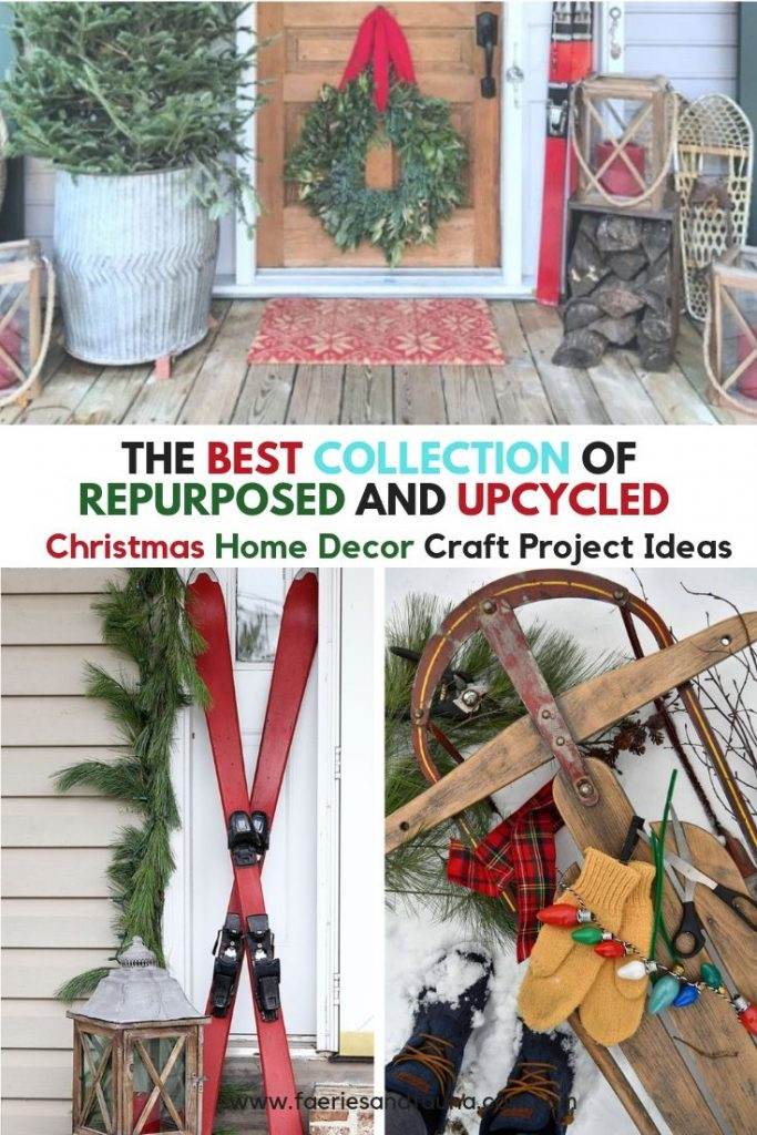 A Christmas collection of vintage toys, skis and sleds for Christmas decorating inspiration.