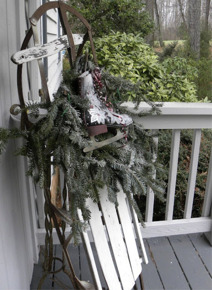 Vintage Sleigh decorated for Christmas in a nordic style