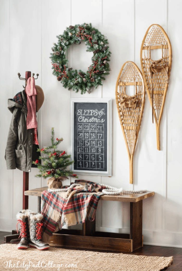Using vintage items for Christmas decorating. Thrift store snow shoes, and skates