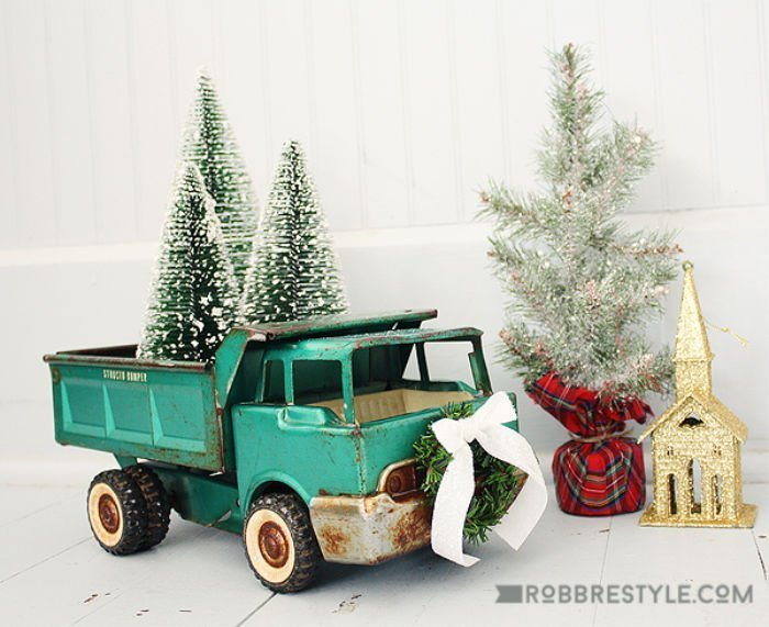 Vintage green toy truck for Christmas decorating