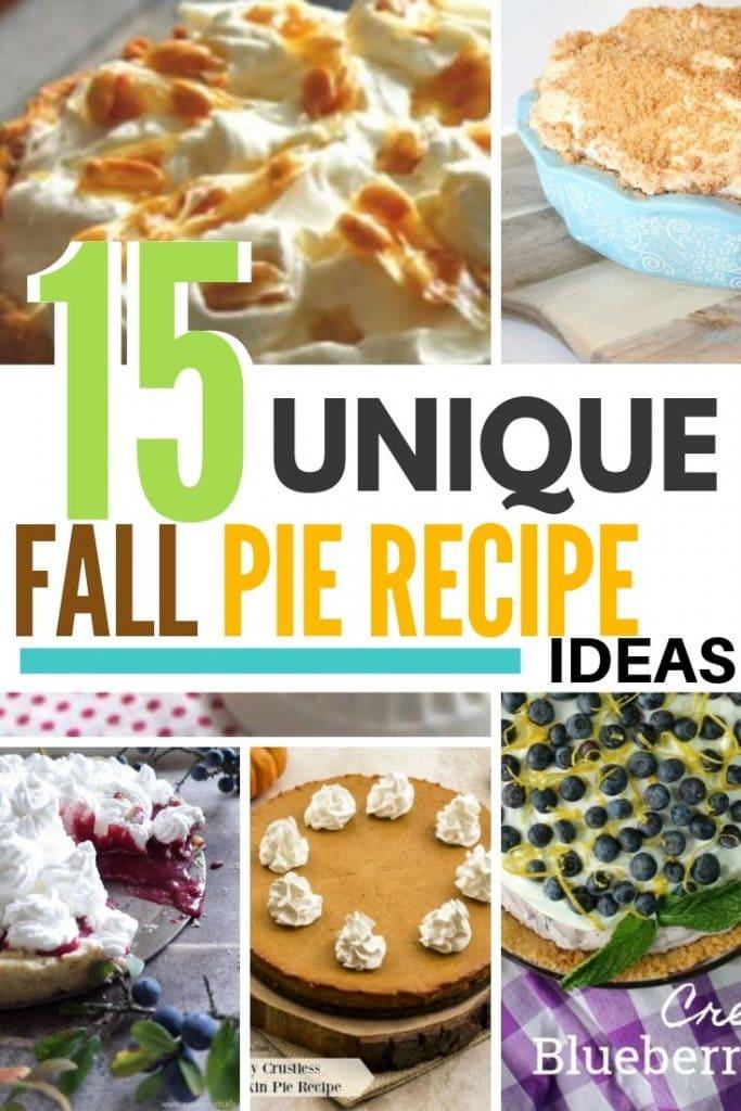 15 Fall pie recipes. Unique fall pie recipes with pumpkin, chocolate, pecan, peanut brittle, buttermilk, blueberry, even flapper pie recipes
