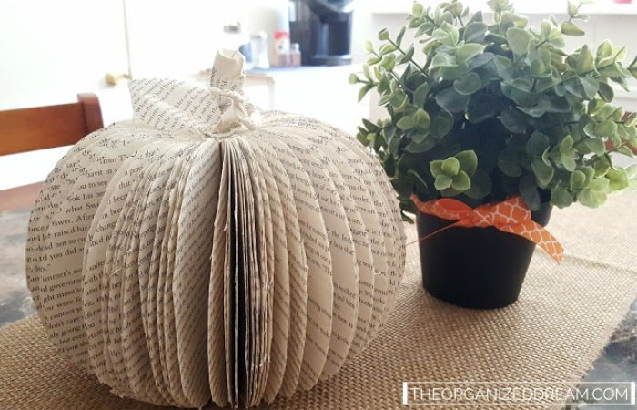 A Fall craft pumpkin made using book pages.