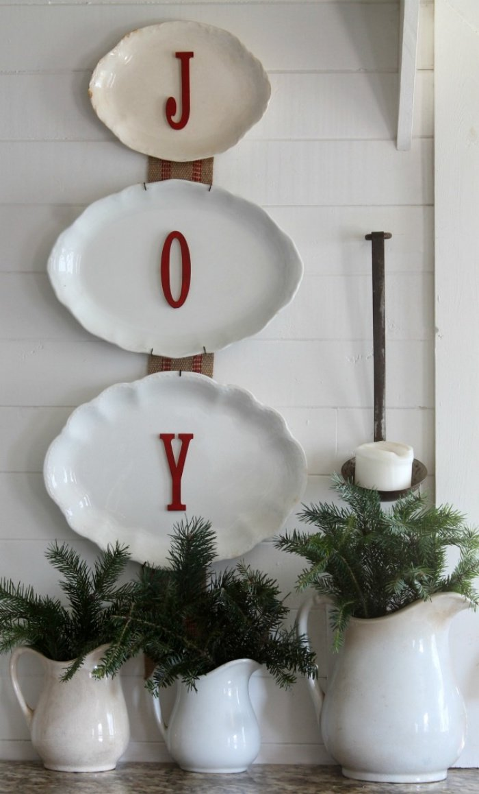 Using thrifted vintage dishware to decorate for Christmas