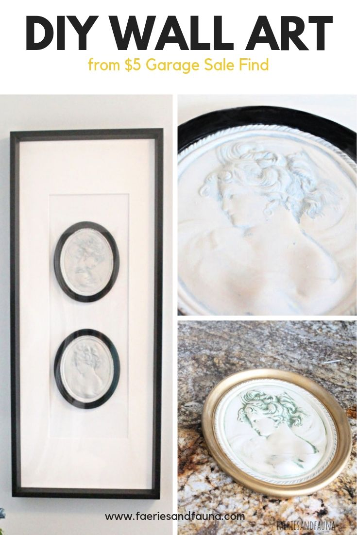 Tutorial collage on how to take a small garage sale find and make it into a large DIY wall art