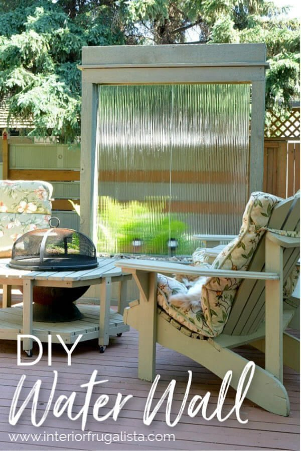 DIY waterwall feature for outdoors