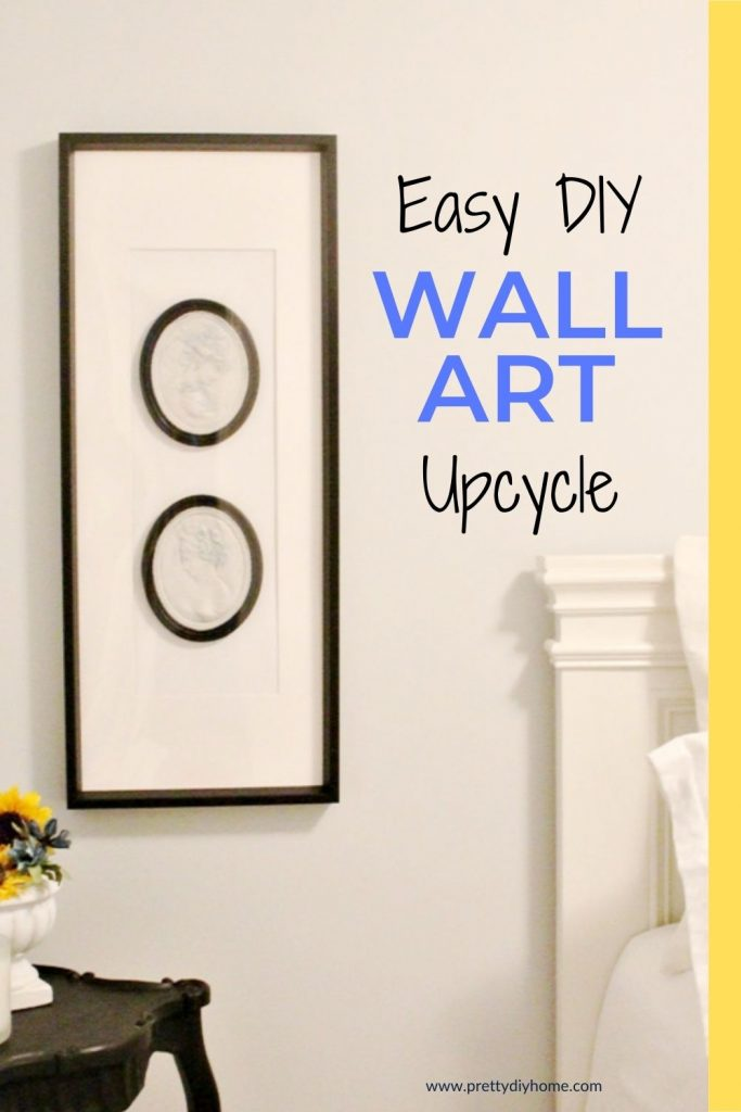 DIY wall artb idea with two black and white upcycled cameos on a frame.