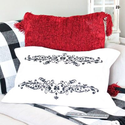 Prima Stenciled DIY Cushion Cover made with Dropcloth